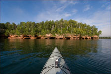 Kayaking to the Sand Island sea cave, Apostle Islands National Lakeshore, Wisconsin, Lake Superior