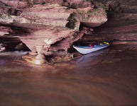 Swallow Point Sea Caves with kayak, Sand Island, Apostle Islands National Lakeshore, WI
