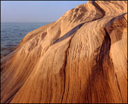 Wavy sandstone near Miners Beach, Pictured Rocks National Lakeshore, Michigan